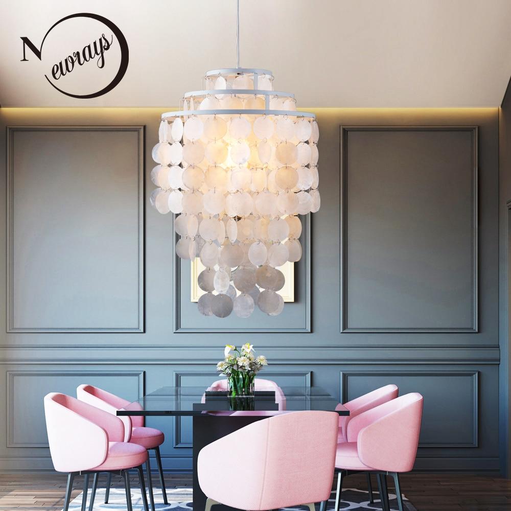 3 tipos estilo concha natural pingente de loft moderno lâmpada lustres luminária E27 Shell Luzes lâmpadas para cozinha quarto sala de estar