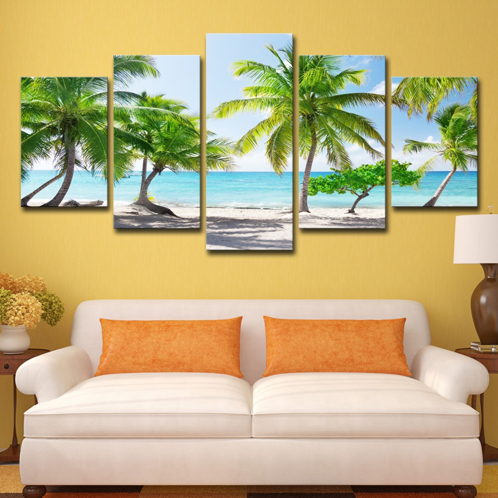 5P0147 HD Printed Canvas Poster Home Decor Modular Pictures Frame 3 Pieces Santa Catalinna Island Beach Coconut Trees Paintings PENGDA (4)