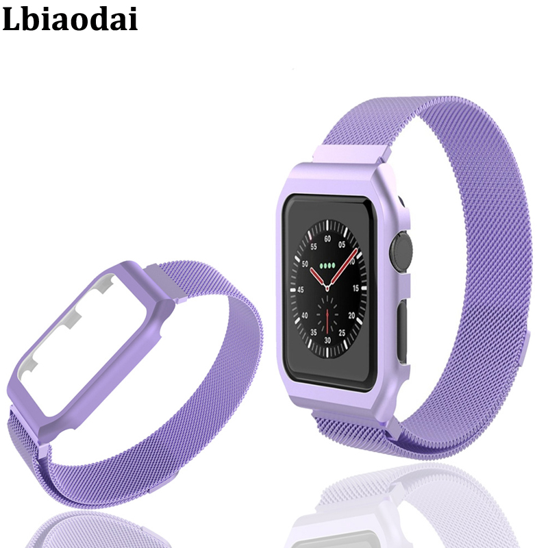 Milanese Loop Strap For correa Apple Watch band 42mm/38mm iwatch series 3 2 1 wrist Stainless Steel Link Bracelet & case belt idg for apple watch 1 2 3 stainless steel milanese strap metal loop wrist band 38 bracelet 42mm watch protective case box frame