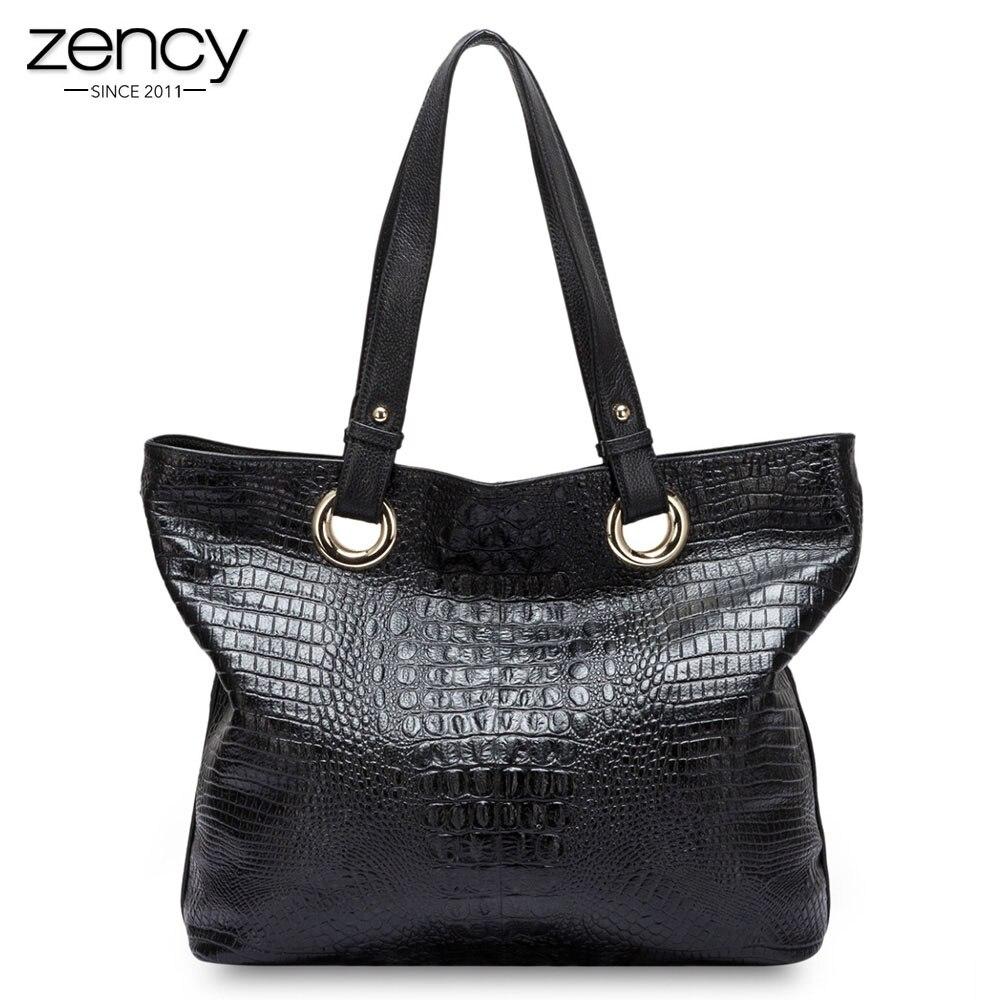 Zency Alligator Women Shoulder Bag 100 Genuine Leather Handbag Crocodile Large Capactiy Lady Messenger Crossbody Purse