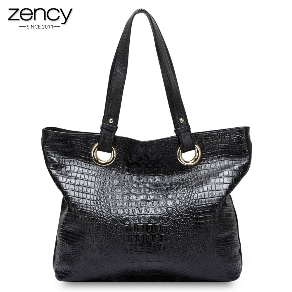 Zency Alligator Women Shoulder Bag 100% Genuine Leather Handbag Crocodile Large Capactiy Lady Messenger Crossbody Purse Big Bags