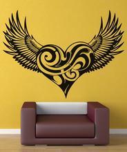 ビニールデカール渦巻きハート羽クリスチャン天使の羽宗教キリスト教リビングルームのベッドルームの壁デカール 2CB4