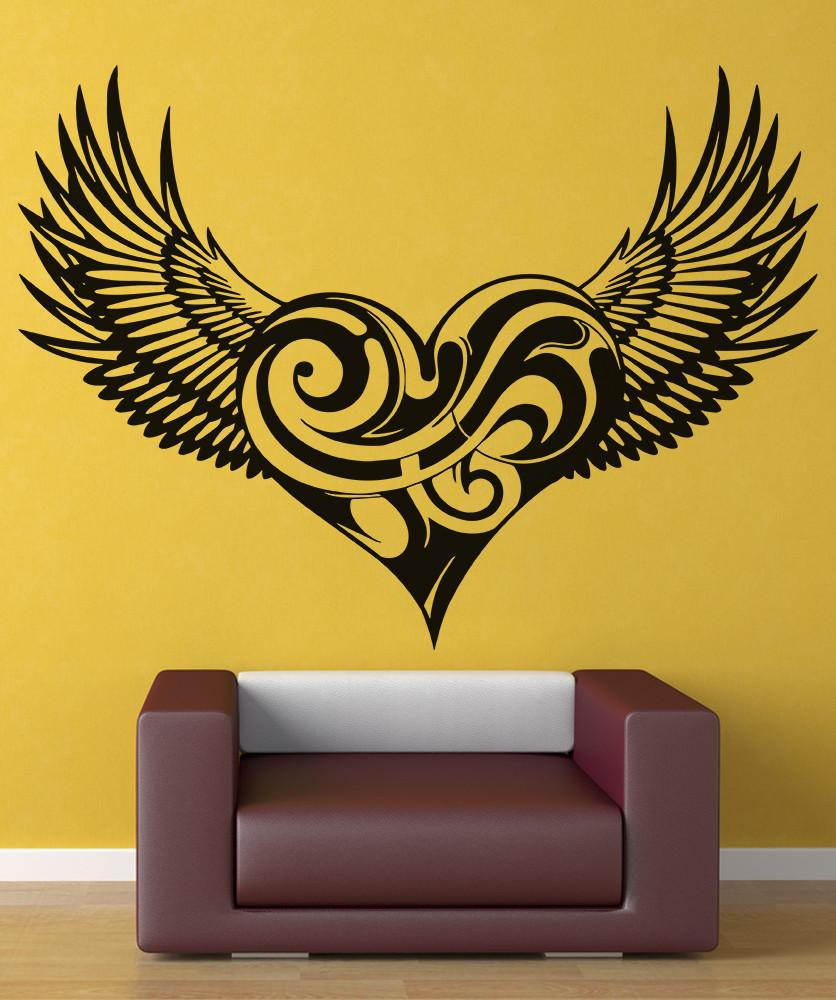 Vinyl Decal  Swirly Heart Wings Christian Angel Wings Religion Christianity Living room bedroom home decor Wall Decal 2CB4-in Wall Stickers from Home & Garden