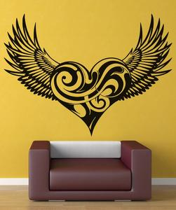 Image 1 - Vinyl Decal  Swirly Heart Wings Christian Angel Wings Religion Christianity Living room bedroom home decor Wall Decal 2CB4