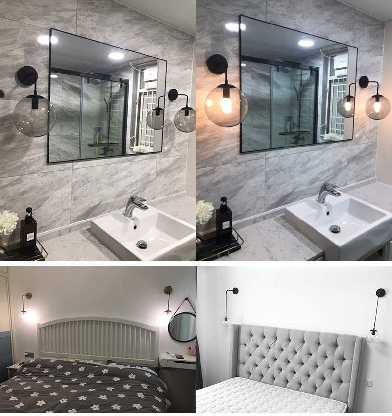 Nordic Post Modern LED Wall Lamp Creative Glass Ball Mirror Bedside Wall Lamps Vintage Wall Light For Living Room Heme Deco (11)