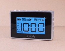 Desktop Dual alarm clock large Digital LCD display blue Backlight FM Radio Sleep and Snooze