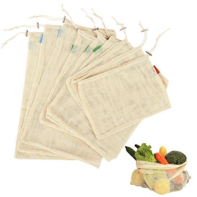 9 sztuk/zestaw bawełna siatki warzyw torby do przechowywania kuchnia ekologiczne owoce spożywczy organizator wielokrotnego użytku zmywalny torba na zakupy