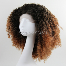 Fashion Ombre Brown #2/30 Loose Kinky Curly Synthetic Lace Front Wig Glueless Short Heat Resistant Hair Women Wigs Free Shipping
