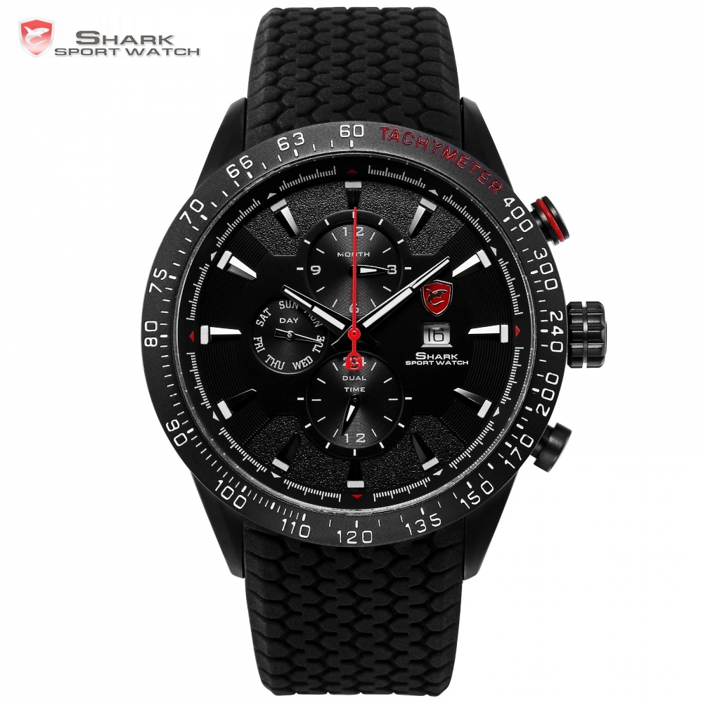 Blacktip SHARK Sport Watch Black 3 Dial Dashboard 24Hrs Date Day Silicon Strap Water Resistant Men's Quartz Wrist Watches /SH395