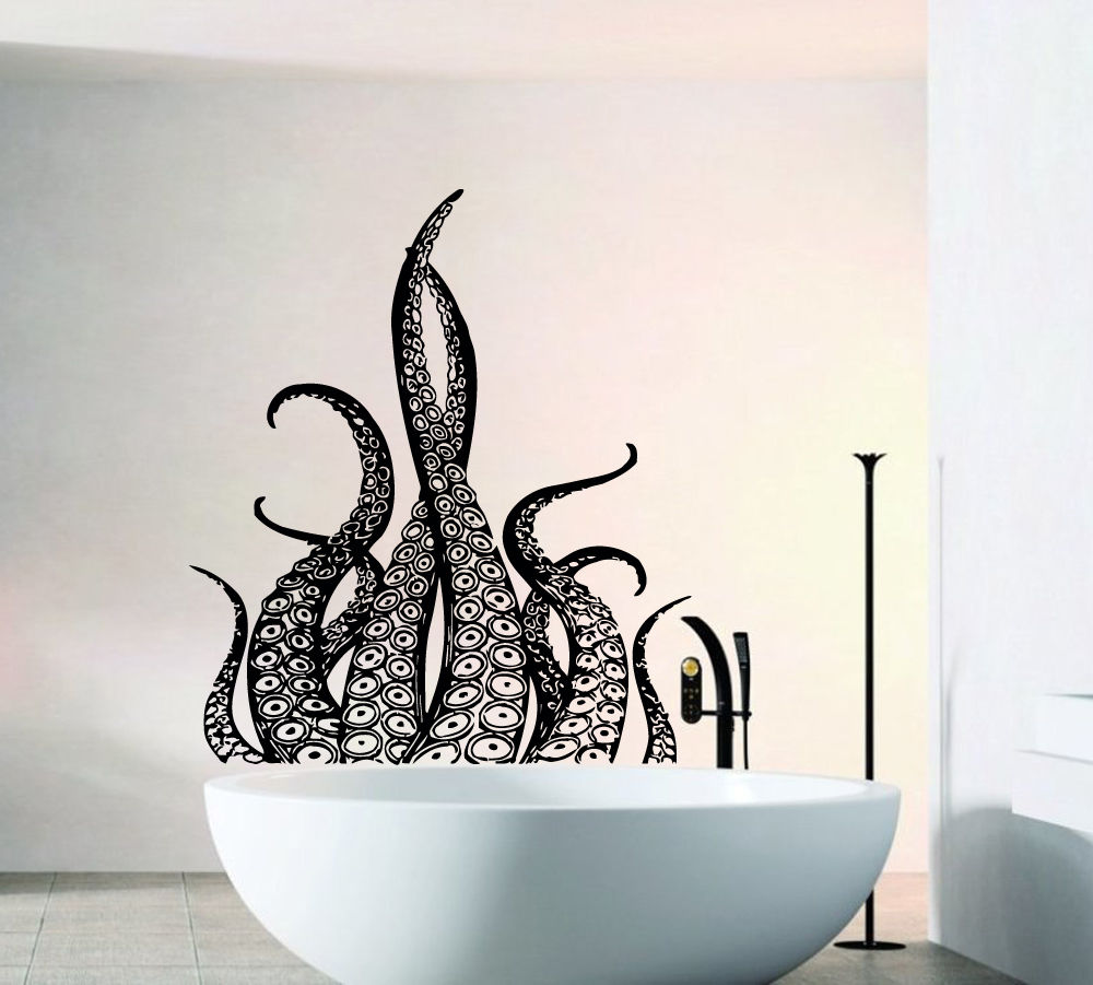 Tentacles Wall Decal Vinyl Decoration Bathroom Removable Octopus Style Sticker Sea Ocean Animal Wallpaper  W442