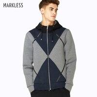 Markless Новое модное пальто свободные Для мужчин Толстовки с длинным рукавом Толстые Лоскутная человек повседневные толстовки Для мужчин вер