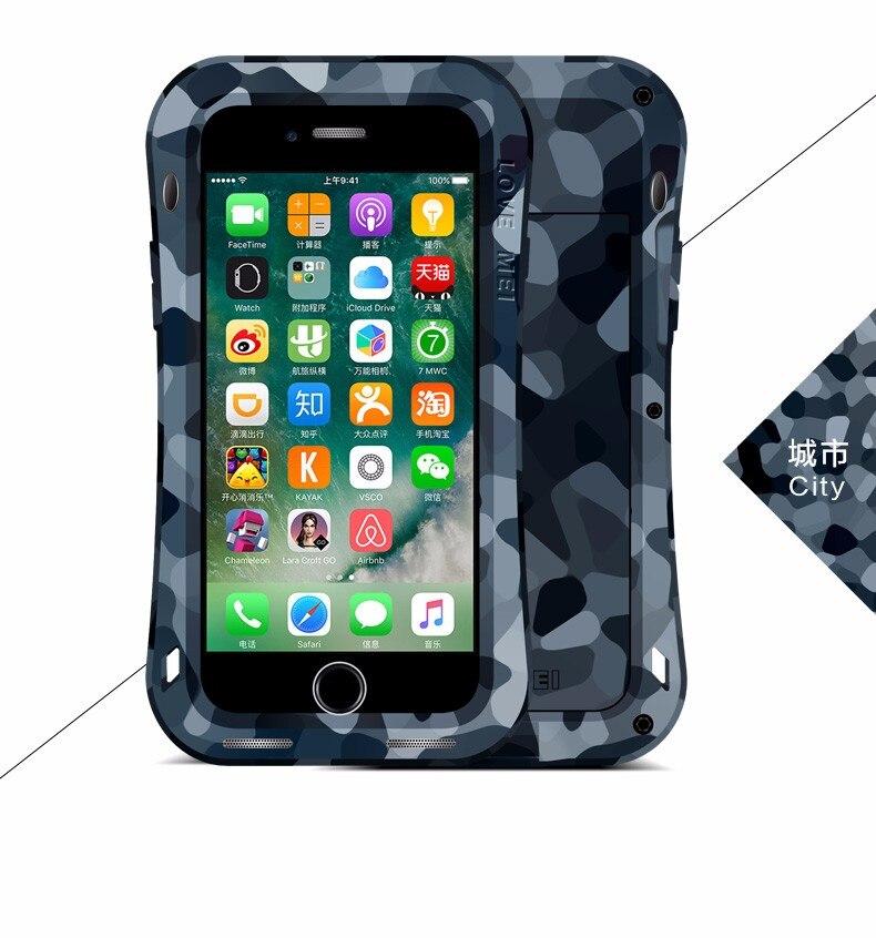 bilder für Ursprüngliche Liebe Mei Leistungsstarke CAMO SERIE Fall Für Apple iPhone 7 7 plus Wasserdichte Shockproof Aluminium-Cover mit Gehärtetem Glas
