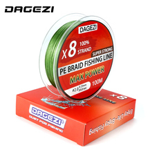 DAGEZI 100m 8 strand 10-80LB Super Strong PE braided fishing lines Japanese Multifilament Fishing Lines 6 colors