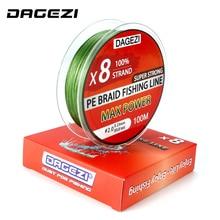 DAGEZI 100 м 8 нитей 10-80LB супер сильный PE плетеные лески японский Многожильная леска 6 цветов