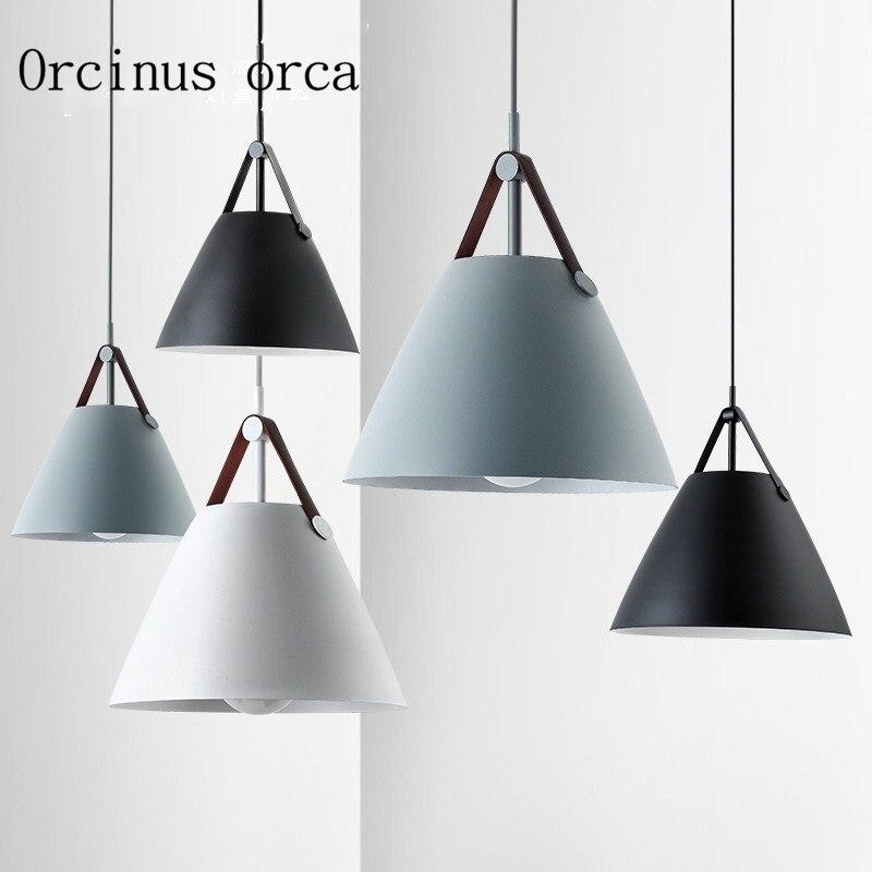 Nordic modern simple color single head chandelier restaurant room bedroom modern personality creativity LED iron pendant lamp|Pendant Lights| |  - title=
