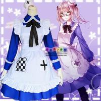 Hot Anime Axis Powers cosplay Lolita Rosa Kirkland England Female Maid Costumes dress cartoon sweet blue cute Maid dress