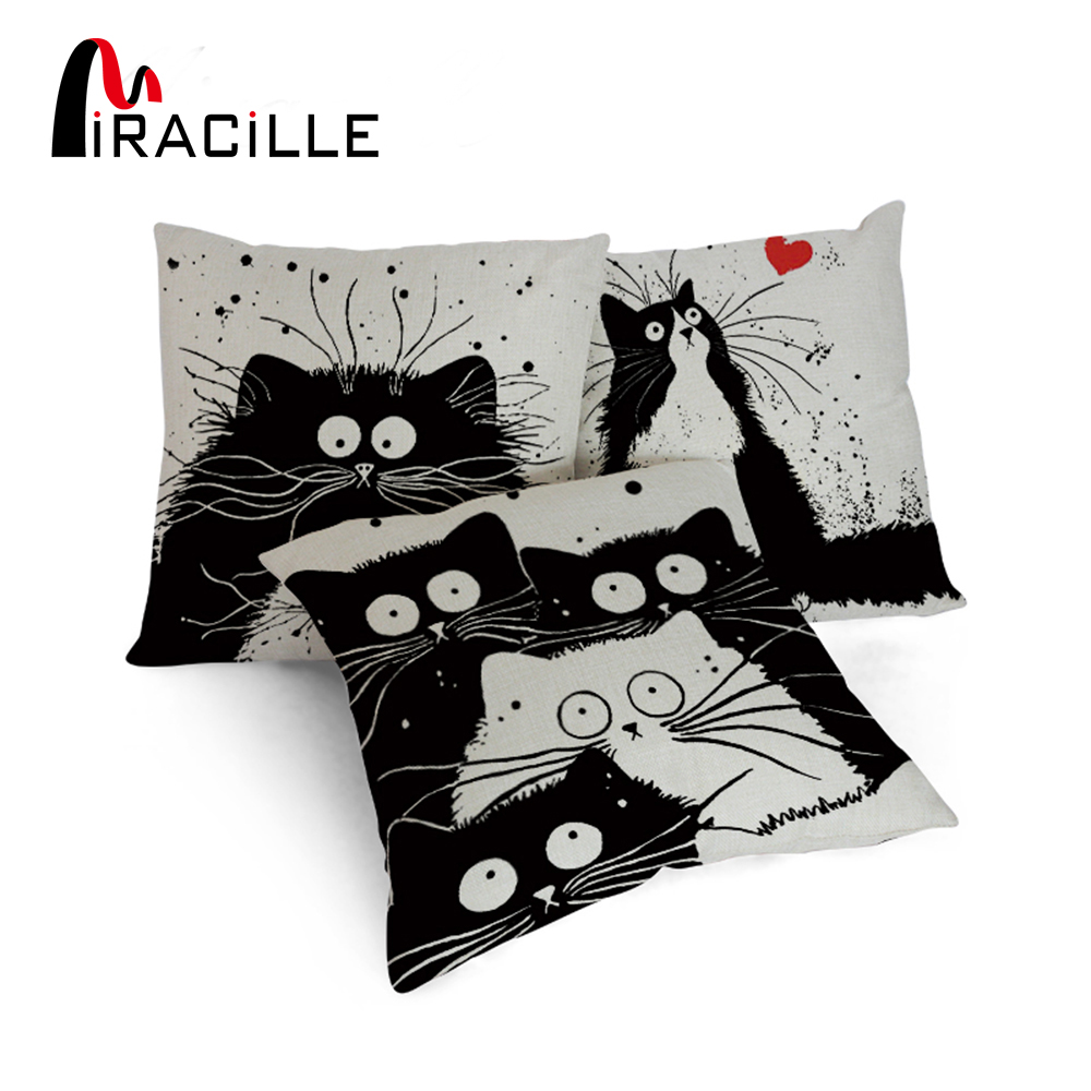 Miracille Bantal Cover Cartoon Black White Cute Kucing Bercetak Cushion Sofa Hiasan Covers Moden Hiasan Rumah Hiasan