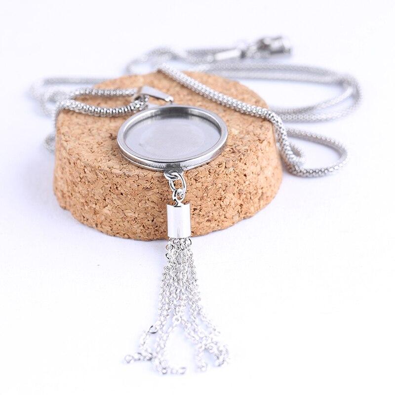 Onwear 5 pcs 20mm de diâmetro em aço inoxidável em branco configurações de base cabochão pingente colar moldura bandejas com encantos borla para jóias