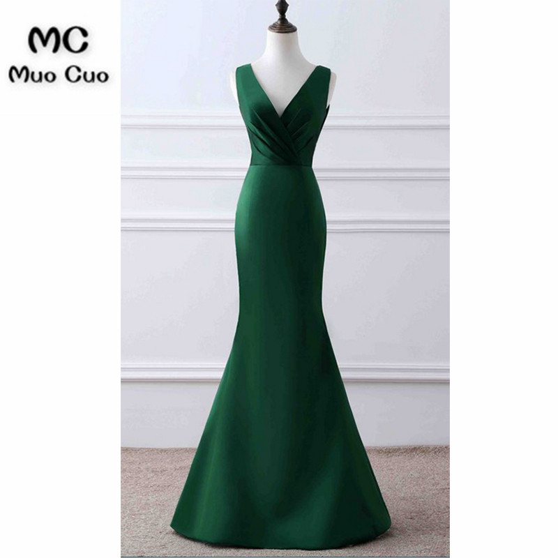 2018 Teal Mermaid Evening Dresses V-Neck Tank Prom Dresses Long Pleat Satin Lace Up Back Formal Evening Party Dress 100% Real