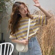 Spring Summer Preppy Style Womens T shirts Rainbow Striped Short Sleeve T-shirt Cotton Tops Loose Tshirt 2019 Fashion