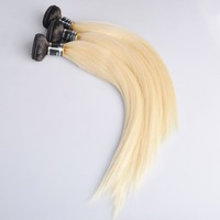 Ross Pretty Peruvian Remy Hair two tone Color Black with Blonde Straight Human Hair Extension Ombre 1b 613 Hair Weave Bundles