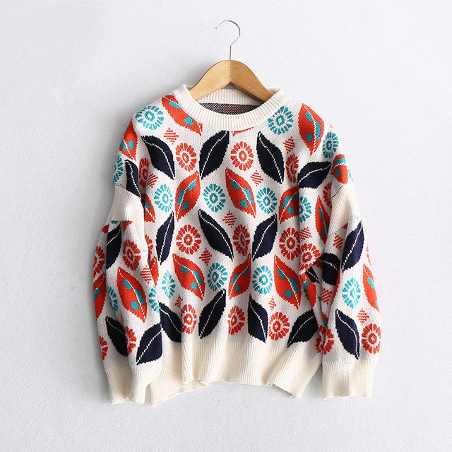 Women Boho Floral Print Crochet Knitted Sweater Jumper Vintage Female Casual O Neck Pullovers Slim Sweater Pull