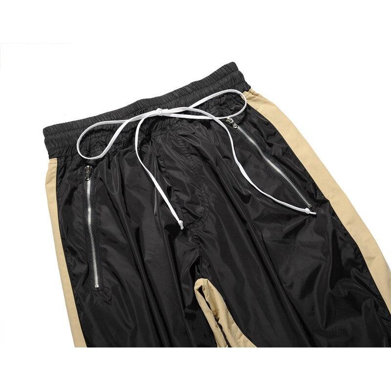 Fermeture Joggers Etats Hommes Élastique Côté unis Noir L'europe Tendance De Pantalon Taille Aux Rue Haute Rayé Cheville Éclair qqz4wZt