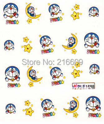 Nail Decal 20Sheets/Lot Mix Doraemon Cartoon 5 Designs Nail Water Sticker DIY Nail Art Applique Stikcer Decoration BLE1867-1891
