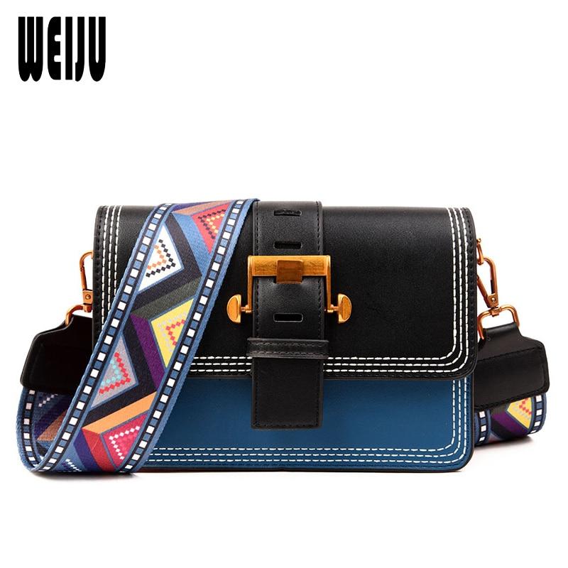 WEIJU Brand Fashion Designer Ladies Shoulder Messenger Bag Summer Hot Patchwork Colorful Wide Strap Crossbody Bags for Women Bag