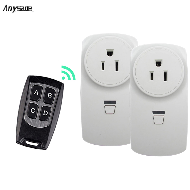 US indoor wireless remote control power socket outlet for home device110V-220V universal remote control 433MHz learning plug 16A