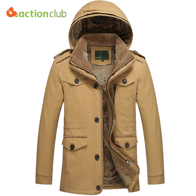 11e88e36524 ACTIONCLUB Winter Thicken Jacket Men Large Size 6XL Warm Coat Mens  Windproof Hooded Cotton Casual Parka