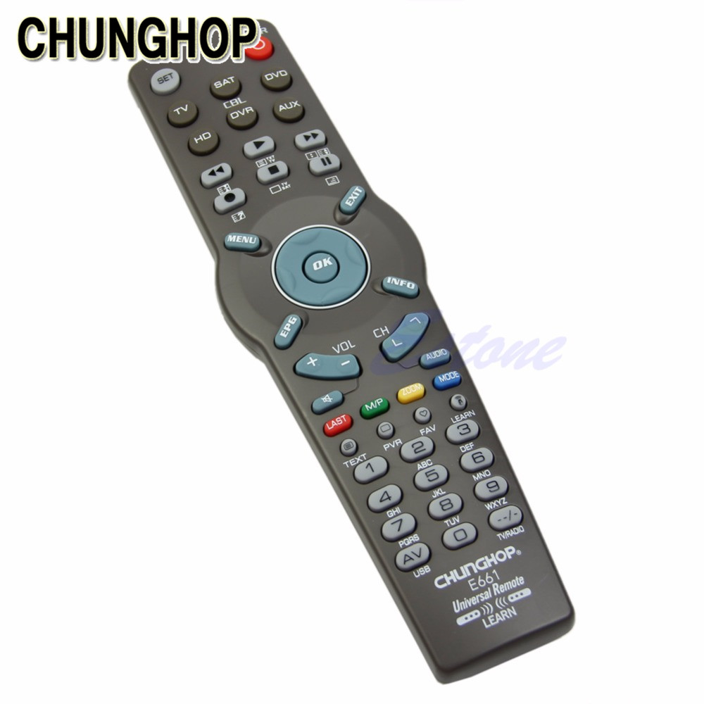 CHUNGHOP TV Remote Control 6 in 1 Universal Learning Remote Control Controller For TV CBL DVD AUX SAT AUD кабель tv 6 5мм sat 15м schwaiger kox80 15