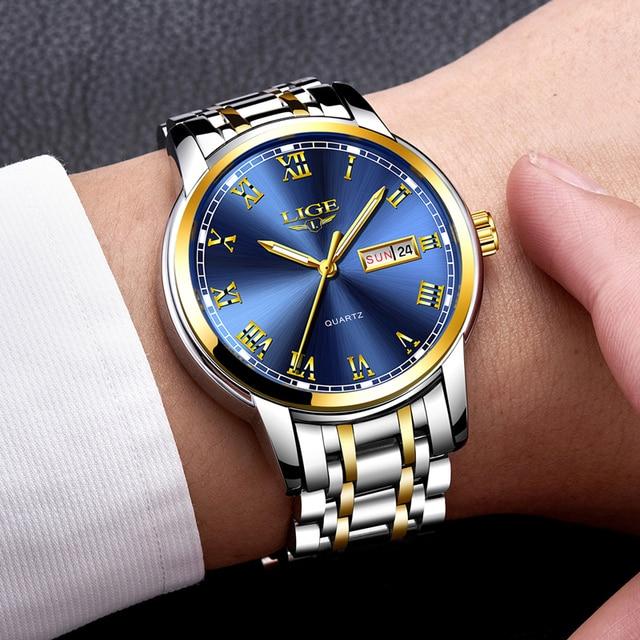 LIGE Men's Business Full Steel Top Brand Luxury Waterproof Quartz Watches 3
