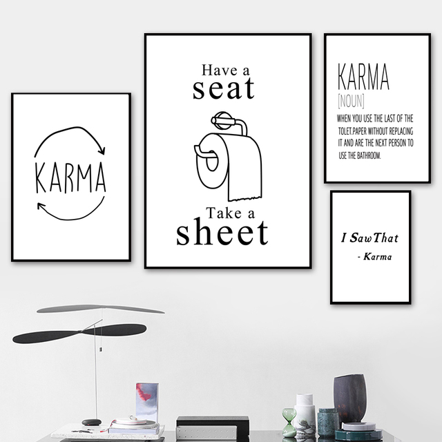 Toilet Paper Karma Nordic Posters And Prints Wall Art