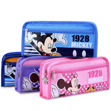 DISNEY School Pencil Cace Minnie Mickey Mouse Pencil Case Cute Kawaii Pen Bag for Students Office School Supplies Stationery