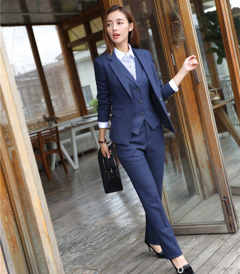 Coolred-Women Business Plaid 3 Pieces Suits Blazer Tux Vest /& Trousers