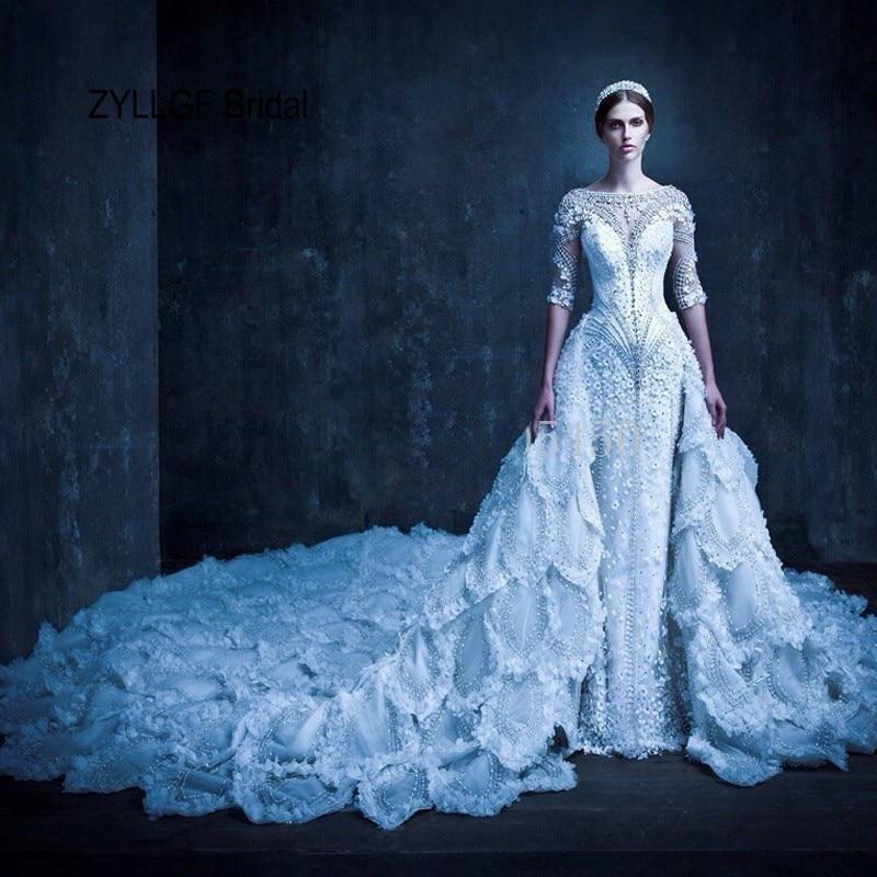 Zyllgf Bridal Mermaid Half Sleeves Beaded Luxurious Wedding Dress