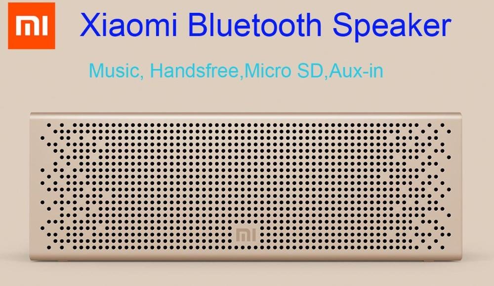 100% Оригинальные Xiaomi mi Bluetooth Динамик Портативный сабвуфер стерео музыка Handsfree Поддержка mi cro SD Card aux-in металлический