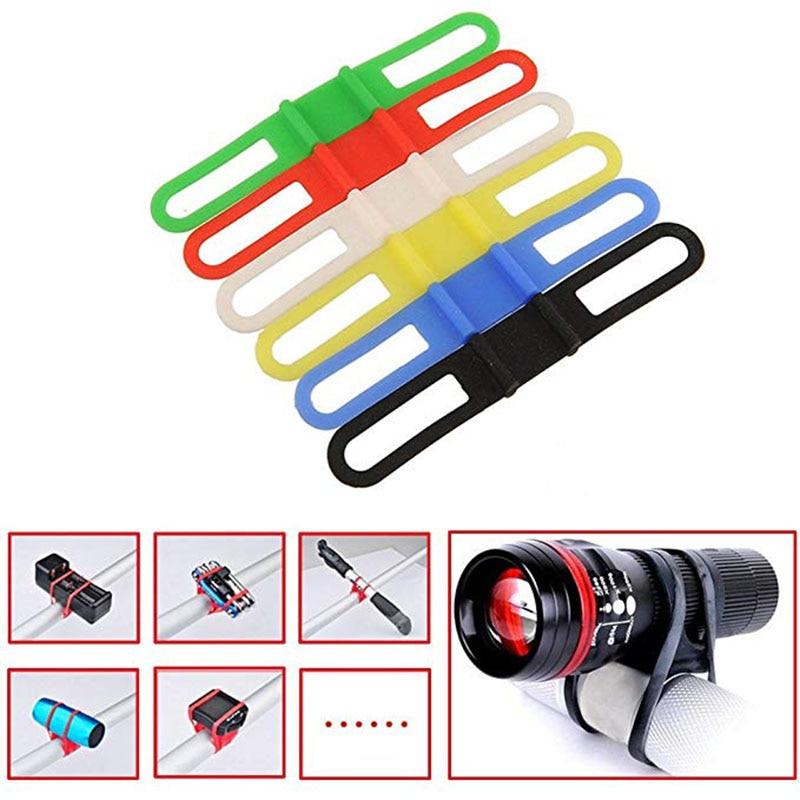 2PCS Silicone Elastic Bicycle Handlebar Belt Bike Light Strap Bandage Torch Bands Flashlight Clip Bicycle Light Torch Holder