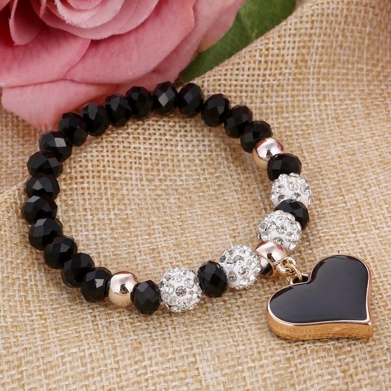 ZOSHI 2017 Crystal Butterful Bracelet & Bangle Elastic Heart Bracelets For Women Handmade Shambhala Beads pulseira masculina