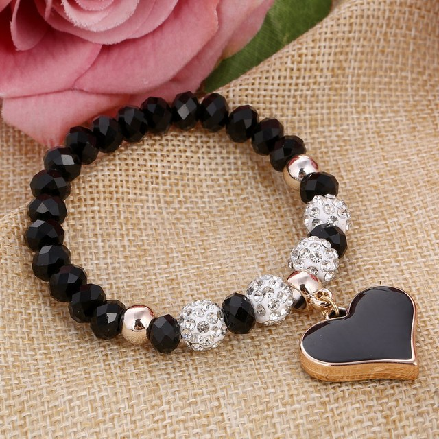 ZOSHI 2017 Crystal Butterful Bracelet & Bangle Elastic Heart Bracelets For Women Handmade Shambhala Beads pulseira masculina
