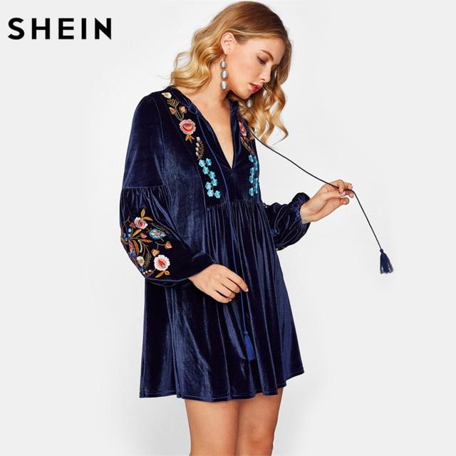 d15b07d02d SHEIN Tasseled Tie Bishop Sleeve Embroidery Velvet Dress Navy Long Sleeve V  Neck A Line Dress Fall Women Dresses