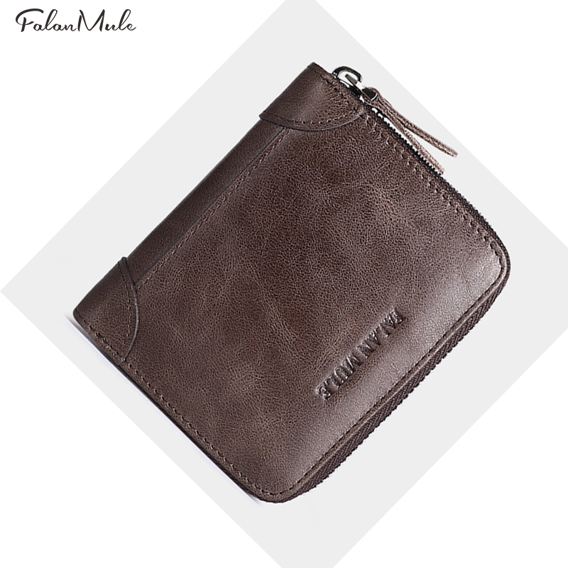 Genuine Leather Men Wallet Short Purse FALAN MULE Brand New Vintage Men's Small Purses Male Mini Wallets For Coin/Card/Money vintage genuine leather wallet men fashion small brand wallet male portable men wallets short coin purse male purses casual
