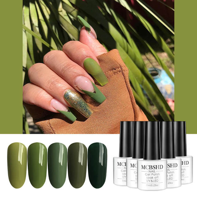 Mcbshd 5pcs Gel Nail Polish Olive Green Pure Color Varnishes Semi Vernis Permanant Polish Gel Lacquer Uv Led Soak Off Art Nail