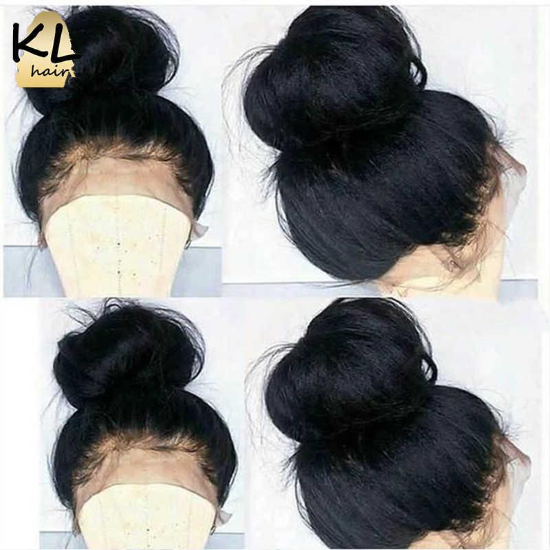 KL 360, парик al для черных женщин, прямые бразильские волосы remy, предварительно сорванные 360, человеческие волосы с волосами младенца