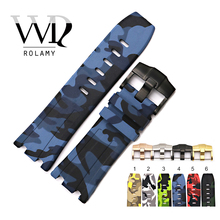 Rolamy 28mm Wholesale Camo Waterproof Silicone Rubber Replacement Wrist Watch Band Strap Belt With Buckle