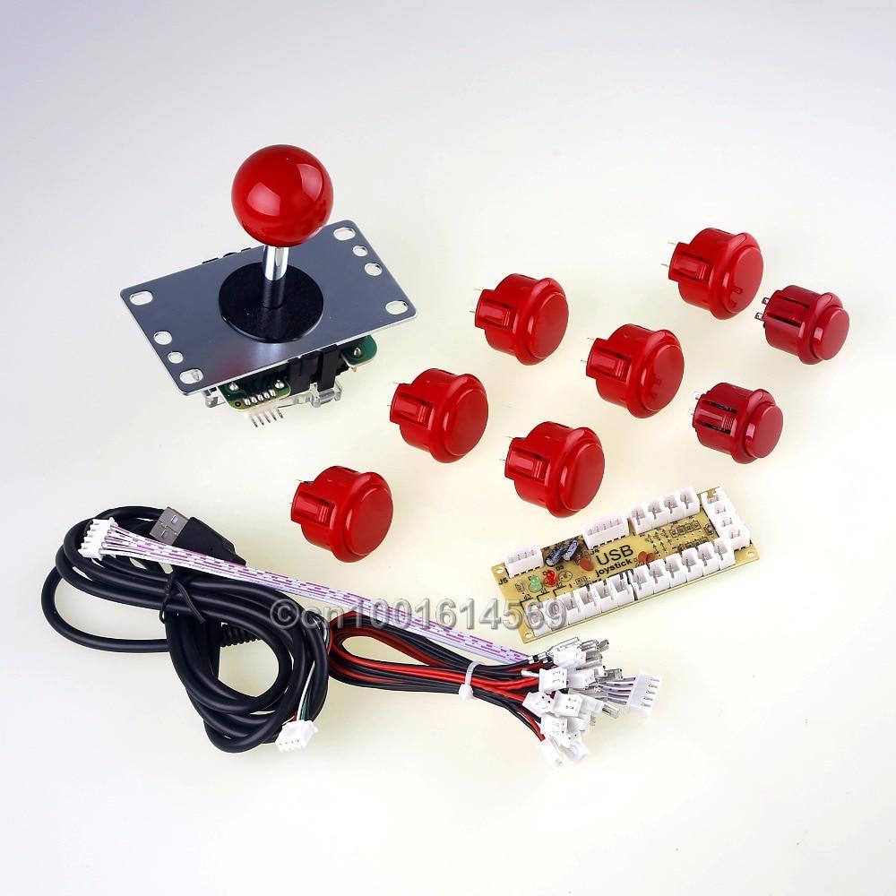 цена на Genuine Japan SANWA Arcade Game DIY Bundle Kits 8x Push Button + Sanwa Joystick + PC Encoder To Arcade Sticks USB Connector Game