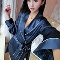 2016 зимний sexy lady шелковые кружева платья кимоно халат банный халат белье babydoll