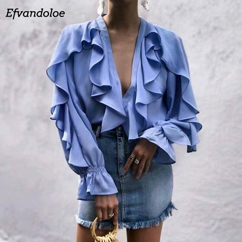 Efvandoloe Elegant Women Ruffles   Blouse     Shirts   V neck Long Sleeve Fashion Top Female 2019 Summer   Shirt