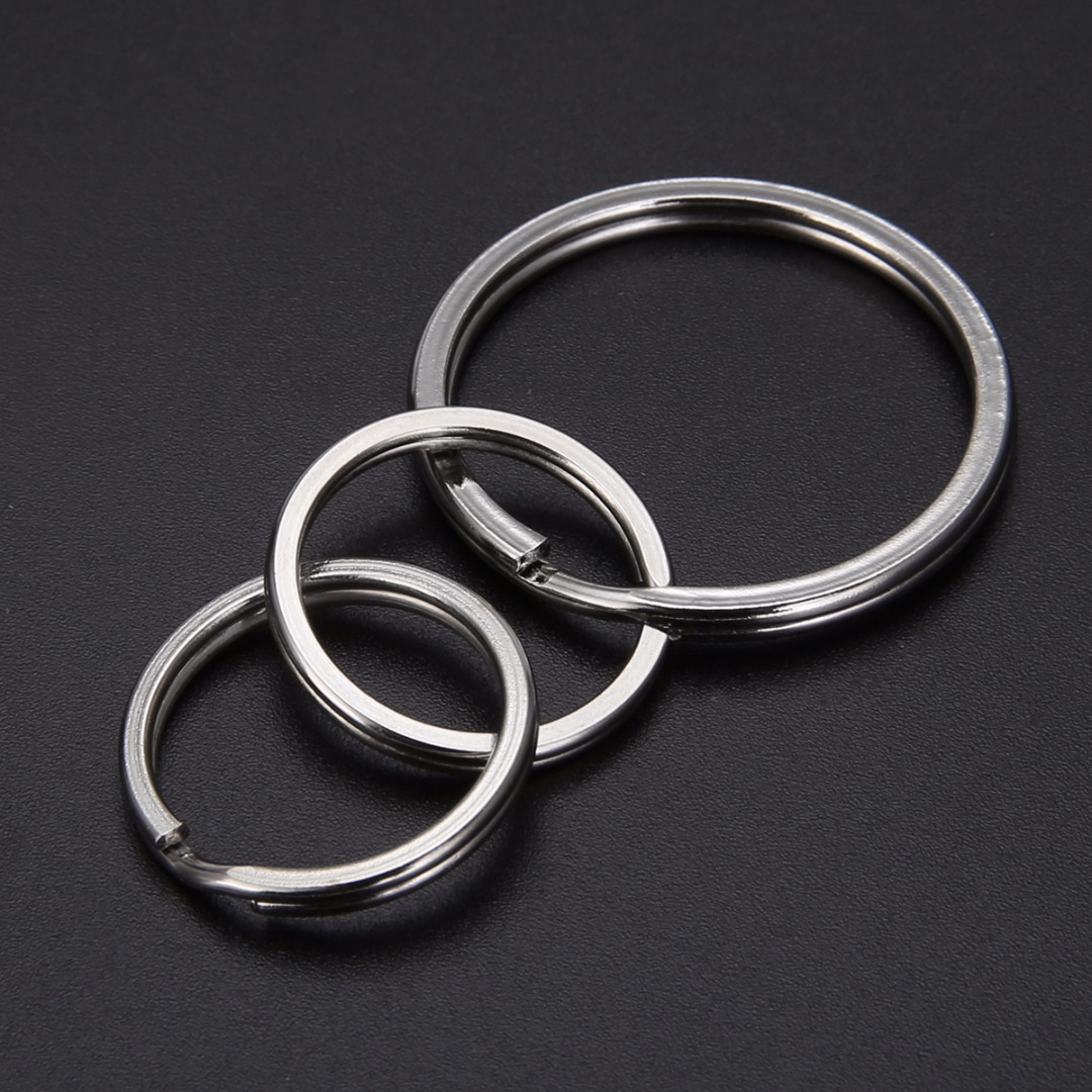10pcs Metal Key Holder Split Rings Keyring Charm Round Silver Colour Keychain Key Ring Accessories For Women Men Shellhard